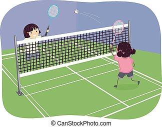 stickman, meninas, indoor, badminton
