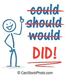 "Stickman Motivation - Stickman with text ""could, should, ..."