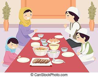 stickman, muçulmano, família, rezar, antes de, refeição