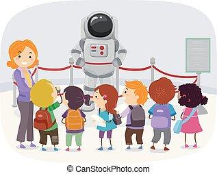stickman, museo, astronauta, niños, ilustración
