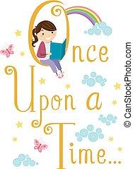 stickman, niño, niña, libro de la historia, lectura, ilustración