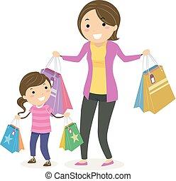 stickman, niño, niña, madre, compras, ilustración