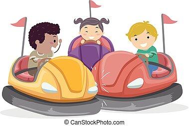 stickman, niños, choque, coche, ilustración