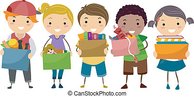 stickman, niños, con, caja donativo, lleno, de, juguetes