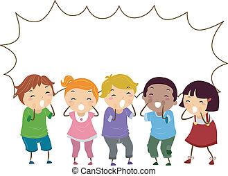 stickman, niños, con, gritos, burbuja del discurso