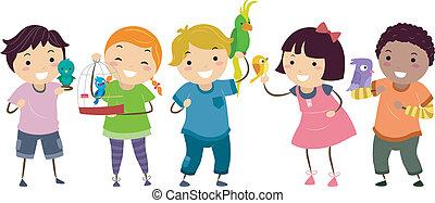stickman, niños, con, mascota, aves