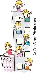 stickman, niños, construcción, edificio, ilustración
