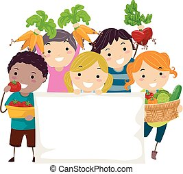 stickman, niños, cosecha, bandera, ilustración