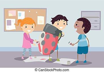 stickman, niños, error de dama, disfraz, ilustración