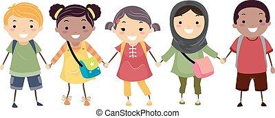 stickman, niños, escuela, diversidad