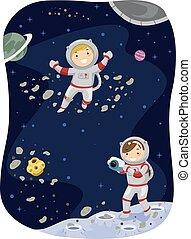 stickman, niños, espacio exterior, foto