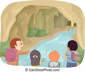 stickman, niños, exploración, cueva