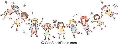 stickman, niños, feliz, bandera