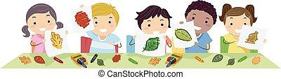 stickman, niños, hoja, frotamiento, colores