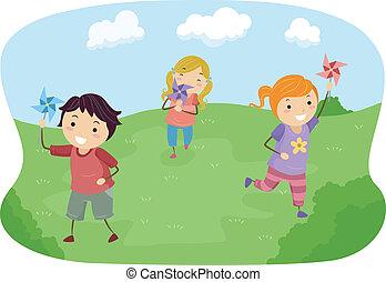 stickman, niños, juego, con, pinwheels, en, un, campo