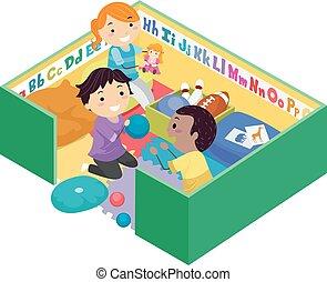 stickman, niños, juego, pluma, juguetes, ilustración