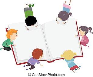stickman, niños, lectura, libro grande