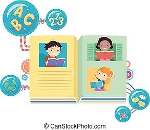 stickman, niños, libros, lectura, ilustración