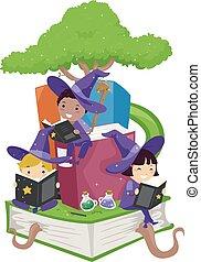 stickman, niños, magos, estudio, árbol, libros