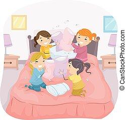stickman, niños, niñas, pelea almohada