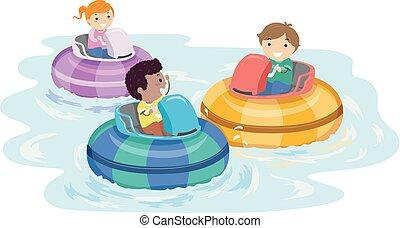 stickman, niños, parachoques, barco, ilustración