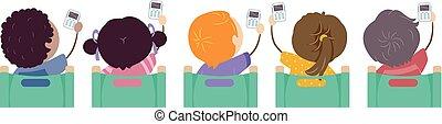 stickman, niños, respuesta, sistema, clickers