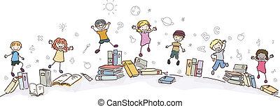stickman, niños, saltar, con, libros