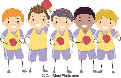 stickman, niños, tenis de mesa, niños