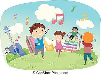stickman, niños, tocar la música, campo, ilustración