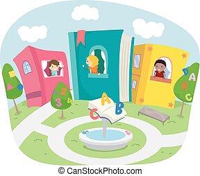 stickman, niños, vecindad, libro, casas