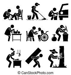 stickman, nieparzysty, prace