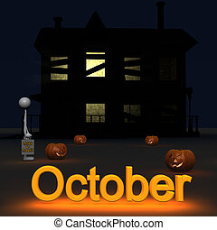 3d figure standing in front of a hounted house. this picture deals with the theme of october.