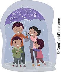 stickman, ombrello, pioggia, famiglia, sotto