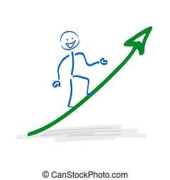 Stickman on Growth Arrow