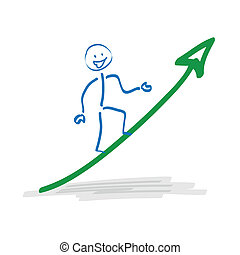 Stickman on the ascending arrow on the white background.