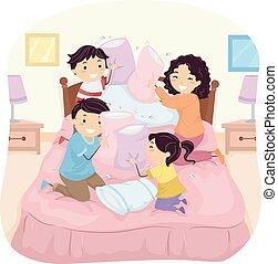 stickman, oreiller, famille, baston