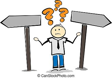 stickman, ou, debout, regarder, direction, poteau indicateur, droit, direction, personne