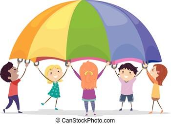stickman, paracadute, bambini, gioco, illustrazione