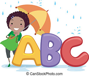 stickman, paraplu, alfabet