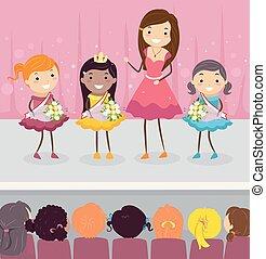stickman, parata, ragazze, illustrazione, bambini