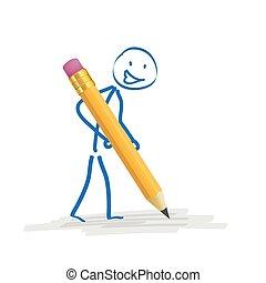 Stickman Pencil - Stickmen with pencil on the white...