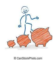 Stickman Piggy Bank Chart - Stickman with with a orange ...