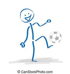 Stickman Playing Football - Stickman plays football on the...