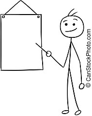 stickman, pointage, hommes, signe, vecteur, dessin animé, vide