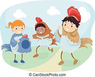 stickman, pollo, bambini, vestire