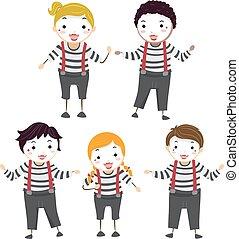 stickman, pose, mimo, illustrazione, bambini