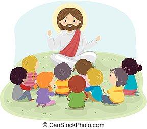 stickman, prédikál, gyerekek, ábra, jézus