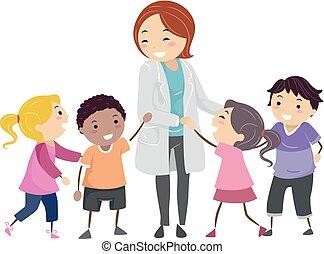 stickman, psiquiatra, crianças, ilustração, doutor