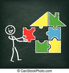stickman, puzzle, maison, tableau noir