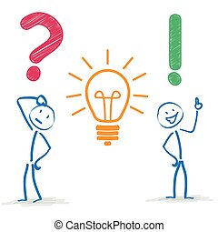 stickman, question, ampoule, réponse
